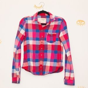 Abercrombie and Fitch pink blue flannel Small